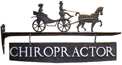 Wrought Iron Chiropractor Sign.